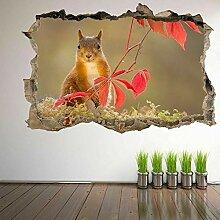 HUGF Wandtattoo Eichhörnchen 3D Wandkunst