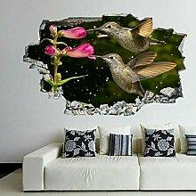 HUGF Wandtattoo Kolibri Blume dekorative Wandkunst