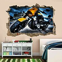HUGF Wandtattoo Motorrad Wandbild Kunst Aufkleber