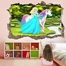 HUGF Wandtattoo Prinzessin Fantasie 3D Wandkunst