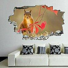 HUGF Wandtattoo Red Eichhörnchen 3D Wandkunst