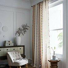 Hughapy Boho Baumwoll-Leinen-Vorhang mit Quasten,