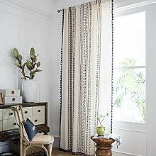 Hughapy Boho Baumwolle Leinen Vorhang mit Quasten