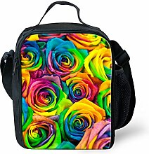 HUGSIDEA Fun Flower Rose Print Thermal Lunch Bags