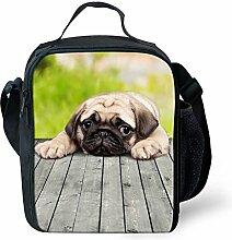 HUGSIDEA Funy Black Dog Printd Lunch Box Food Bag