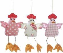 Huhn Stoffhuhn Hühner 3er Set Rosa Ostern Dekoration