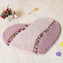 Huihong Türmatten, Heart-Shaped Kissen Bett innen Schlafzimmer Tür Mat Badezimmer Teppich Matte Bad Wasser Skid Pad, 45×50 Cm, Rosa