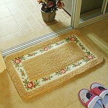 Huihong Türmatten, Schlafzimmer Wohnzimmer Tür Fußmatte Bad WC Skid Saugkissen, 40 × 60 cm, Golden