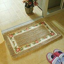 Huihong Türmatten, Schlafzimmer Wohnzimmer Tür Fußmatte Bad WC Skid Saugkissen, 45 × 75 cm, Kamel