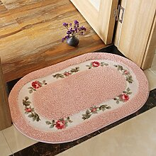 Huihong Türmatten, Tür Eingangstür Mat Badezimmer Dusche Saugfuss Schlafzimmer Bett Teppiche Bad Küche Matten, 45 × 125 Cm, Rosa