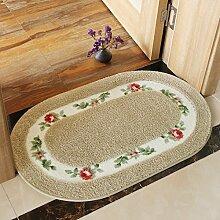 Huihong Türmatten, Tür Eingangstür Mat Badezimmer Dusche Saugfuss Schlafzimmer Bett Teppiche Bad Küche Matten, 50 × 80 cm, Kamel