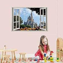 HUIHUI Schloss 3D Fenster abnehmbare Wandaufkleber