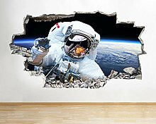 HUIHUI Wandaufkleber Astronaut Space Moon Earth