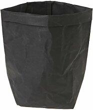 Huijun wiederverwendbar Verdickte Kraftpapier Tasche Aufbewahrung, waschbar Verdickte Pflanze Blumen Töpfe Multifunktions--Blume Aufbewahrungskorb für Spielzeug/Kleidung/Bücher (35cm, BK)