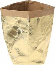 Huijun wiederverwendbar Verdickte Kraftpapier Tasche Aufbewahrung, waschbar Verdickte Pflanze Blumen Töpfe Multifunktions--Blume Aufbewahrungskorb für Spielzeug/Kleidung/Bücher (28cm, GD)