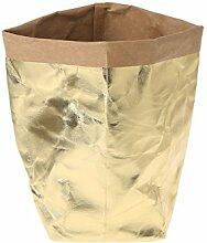Huijun wiederverwendbar Verdickte Kraftpapier Tasche Aufbewahrung, waschbar Verdickte Pflanze Blumen Töpfe Multifunktions--Blume Aufbewahrungskorb für Spielzeug/Kleidung/Bücher (35cm, GD)