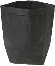 Huijun wiederverwendbar Verdickte Kraftpapier Tasche Aufbewahrung, waschbar Verdickte Pflanze Blumen Töpfe Multifunktions--Blume Aufbewahrungskorb für Spielzeug/Kleidung/Bücher (40cm, BK)