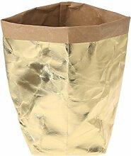 Huijun wiederverwendbar Verdickte Kraftpapier Tasche Aufbewahrung, waschbar Verdickte Pflanze Blumen Töpfe Multifunktions--Blume Aufbewahrungskorb für Spielzeug/Kleidung/Bücher (40cm, GD)