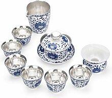 HuiLai Zhang Tee-Set aus Keramik, Blau / Silber,