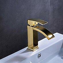 Huin Golden Finish Messing Waschbecken Wasserhahn