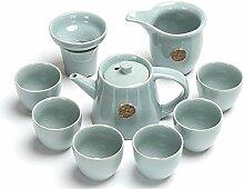 HuiQing Zhang 10 Effort Ge Keramik-Tee-Set, Blau