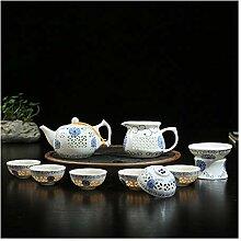 HuiQing Zhang Exquisites Teeset aus Porzellan mit