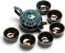 HuiQing Zhang Ofen-Tee-Set, Blau