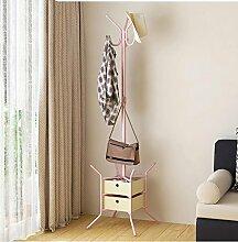 HUISHUAI Garderobe für den Haushalt, Boden Schlafzimmer Kleiderbügel, Einfaches Innenkleiderregal, Wirtschaft verknüpfte , pink