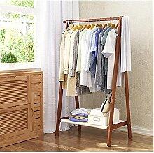 HUISHUAI Klappboden Kleiderbügel, Chinesische Garderobe aus Massivholz, Wohnzimmer Schlafzimmer Kleidung Regal, Kreative einfache Racks , Ein Braun