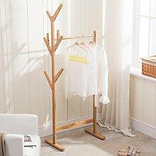 HUISHUAI Moderne Garderobe aus Massivholz, Ecke Kleiderständer, Bambus Kleiderständer für Kinder, Einfache und schöne Lagerregale , wood color , 60cm