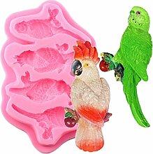 HUIZHANG 3D Vögel Papageien Silikon -Form