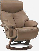 Hukla Relaxsessel CR02 medium Grundversion C im taupefarbenem Echtlederbezug
