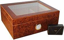 Humidor fuer 50 Zigarren Glasdeckel Aussenhygrometer