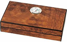 HUMIDOR Mini Cigarren-Humidor Wurzelholzdekor matt ca 4 Zigarren + Hygrometer