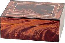 HUMIDOR rotbraun Intarsien-Design 25 Cigarren Befeuchter, Hygrometer,Trennleiste