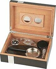 Humidor-Set 2-tone Laserfinish für ca. 25 Cigarren,Hygrometer,Humidifer,Cutter,Ascher