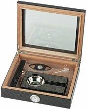 Humidor-Set Carbon-Design Glasdeckel für ca. 15 Cigarren ,Hygrometer,Humidifer,Cutter,Ascher