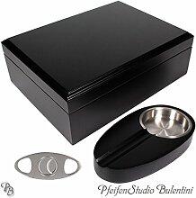Humidor Set inkl. Zigarrenaschenbecher und Zigarrenabschneider (Schwarz)