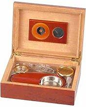 Humidor-Set Rosenholzfurnier mit Hygrometer,