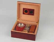 Humidor-Set Rosenholzoptik für ca. 40 Zigarren