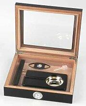 Humidor-Set schwarz Glasdeckel mit Hygrometer,