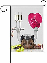 Hund feiert mit Champagner doppelseitige Polyester