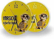 Hund - Moderne Wanduhr mit Fotodruck auf Polycarbonat   Fotouhr Bilderuhr Motivuhr Küchenuhr modern hochwertig Quarz   Variante:30 cm rund mit schwarzen Zeigern