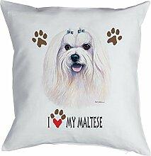 Hunde Malteser Kissen für Hundefreunde mit Füllung Polster Dekokissen Geschenk Weihnachten Geburtstag Geschenkidee
