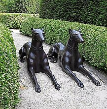 Hunde, Paar, liegend, Bronzeguss