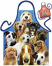 Hunde-Themen-Schürze/Spaß-Grill/Kochschürze Rubrik Tiere: Dogs - Geschenk-Set inkl. Mini-Schürze