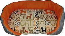 Hundehütte/Fußauflage für Tiere mit Hintergrund orange und Cartoon Viele Katzen, ein Single Stück 46x36x10