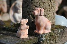 Hundepärchen,Gartendeko,Terracotta,frostfest,17cm+12cm hoch