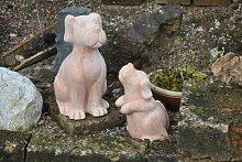 Hundepärchen,Gartendeko,Terracotta,frostfest,35cm+26cm hoch