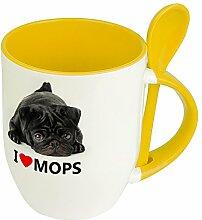 Hundetasse Mops - Löffel-Tasse mit Hundebild Mops
